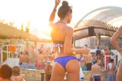 Partij op Zrce-strand, Novalja, Pag-eiland, Kroatië Stock Foto