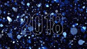 Partij van blauwe deeltjes willekeurig vlieg rond cijfers 2018 vector illustratie