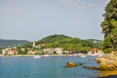Partij van boten in de baai van Herceg Novi Stock Foto