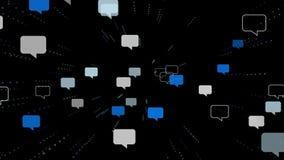 Partij van de vlieg van toespraakbellen aan camera vector illustratie