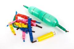 Partij van gelaten leeglopen ballons van vele kleuren royalty-vrije stock afbeelding