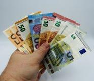 Partij van geld als speelkaarten, concept royalty-vrije stock afbeelding