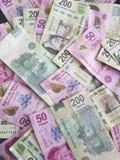 partij van Mexicaanse rekeningen in verschillende benamingen Stock Foto