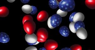 Partij van paaseieren in de vlag die van de V.S. worden geschilderd royalty-vrije illustratie