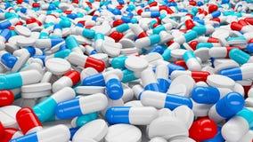 Partij van pillen en capsules Royalty-vrije Stock Fotografie