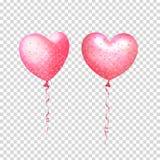 Partijdecoratie voor verjaardag, verjaardag, viering Opblaasbare lucht vliegende ballons in vorm van harten met confettien stock illustratie