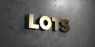 Partijen - Gouden teken opgezet op glanzende marmeren muur - 3D teruggegeven royalty vrije voorraadillustratie vector illustratie