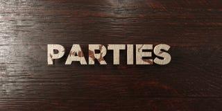 Partijen - grungy houten krantekop op Esdoorn - 3D teruggegeven royalty vrij voorraadbeeld vector illustratie