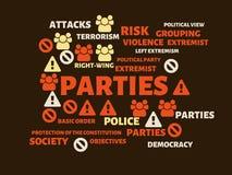 PARTIJEN - KARWEI - beeld met woorden verbonden aan onderwerpextremism, woord, beeld, illustratie royalty-vrije illustratie