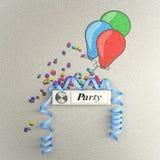 Partijklok met ballons en wimpel Royalty-vrije Stock Foto's