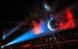 Partijlichten op een Discoball Royalty-vrije Stock Fotografie