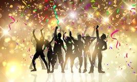 Partijmensen op een confettien en wimpelsachtergrond Stock Fotografie