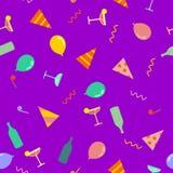 Partijpatroon De feesthoorn van GLB en van de Partij ballon en fles Stock Afbeeldingen