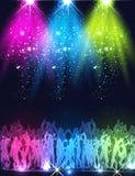 Partijstadium, club, nachtleven, vuurwerkachtergrond stock illustratie