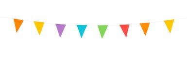 Partijvlaggen op een witte achtergrond worden geïsoleerd die Royalty-vrije Stock Afbeeldingen