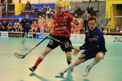 Partik Suchanek and Milan Fridrich in floorball Royalty Free Stock Photography