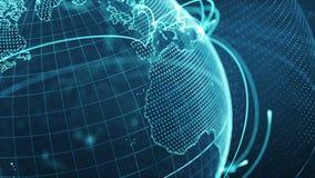 Partikelvärld med ett växande globalt nätverk - blå närbildögla vektor illustrationer