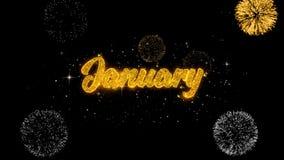 Partiklar för blinka för Januari guld- text med guld- fyrverkeri royaltyfri illustrationer