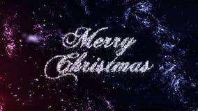 Partiklar för glad jul på frostbakgrund, sömlös ögla arkivfilmer