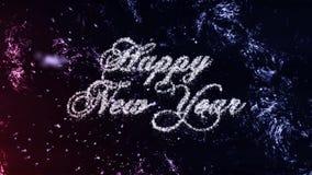 Partiklar för lyckligt nytt år på frostbakgrund, sömlös ögla stock video