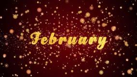 Partiklar för text för Februari hälsningkort skinande för beröm, festival stock video