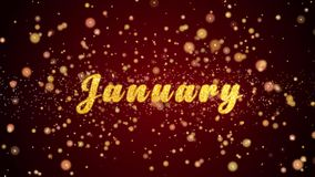 Partiklar för text för Januari hälsningkort skinande för beröm, festival stock video