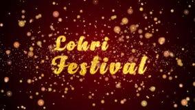 Partiklar för text för kort för Lohri festivalhälsning skinande för beröm, festival lager videofilmer