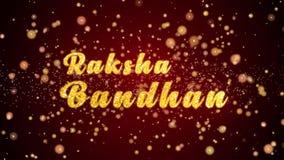 Partiklar för text för Raksha Bandhan hälsningkort skinande för beröm, festival arkivfilmer