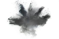 Partiklarna av kol stänkte på vit bakgrund royaltyfri foto