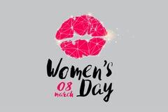 Partiklarna, den geometriska konsten, linjen och pricken av logoen för dag för kvinna` s Royaltyfri Foto