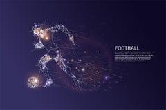 Partiklarna och linjen prick av fotbollsspelaren vinkar Royaltyfri Foto