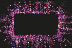 Partikonfettitextur med kopieringsutrymme för text på en svart bakgrund Färgexplosion av konfettier Färgrikt kornigt damm vektor illustrationer