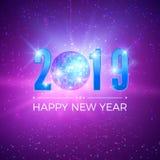 Partikort för nytt år med nummer 2019 Skinande diskoboll på nattbakgrund också vektor för coreldrawillustration vektor illustrationer