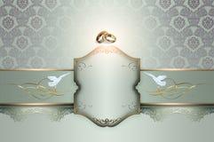 Partikortdesign med blommor och band Royaltyfri Fotografi