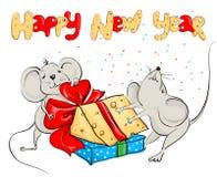Partilha do rato dos desenhos animados o queijo Fotos de Stock Royalty Free