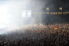Parting crowd of people during a David Guetta concert Royalty Free Stock Photography