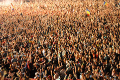 Parting crowd of people during a David Guetta concert Stock Photography