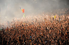 Parting crowd of people during a David Guetta concert Royalty Free Stock Images