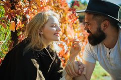 Parting with sweetheart. Bearded hipster man and tender blonde woman in love. Couple in love happy close up nature. Parting with sweetheart. Bearded hipster men royalty free stock photo