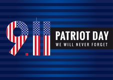 9.11 Partiot day USA card. Patriot day vector poster. September 11, We will never forget Stock Image