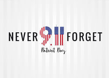 9.11 Partiot day USA card. Patriot day vector poster. September 11, We will never forget Stock Images