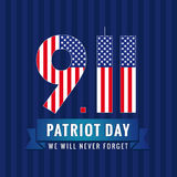 9.11 Partiot day USA card. Patriot day USA, We will never forget, September 11 vector poster Royalty Free Stock Images