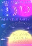 Partiräkning för nytt år 2019 futuristic royaltyfri illustrationer
