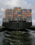 Partir de navire porte-conteneurs Photographie stock