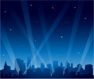 Partistad på natten Arkivbild