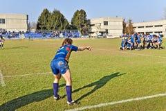 Partita Cus Torino di rugby contro rugby Paese Immagini Stock