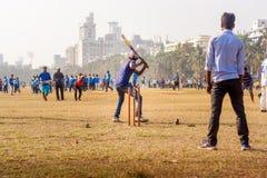 Partita del cricket con pallina da tennis immagine stock