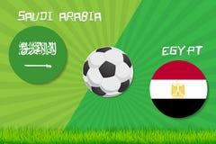 Partita di calcio Arabia Saudita contro l'Egitto Fondo di sport Fotografia Stock Libera da Diritti