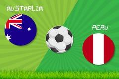 Partita di calcio Australia contro il Perù Fondo di sport Immagine Stock