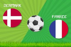 Partita di calcio Danimarca contro la Francia Fondo di sport Fotografie Stock Libere da Diritti